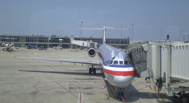 American Airlines MD-82 at gate