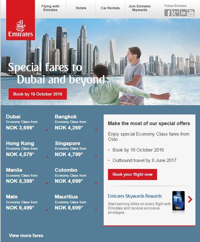 Skjerm-dump fra Emirates kampanje