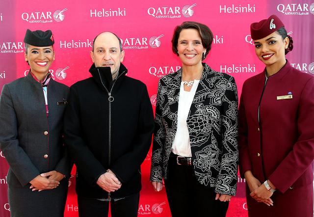 Offisiell åpning av Helsinki ruten og CEO Akbar Al Baker tilstede (C) Qatar Airways
