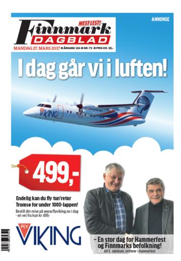 Finnmark Dagblad lot FlyViking benytte hele forsiden til annonse for sin oppstart av nye rimelige flygninger til 499 kroner. Foto: Finnmark Dagblad.