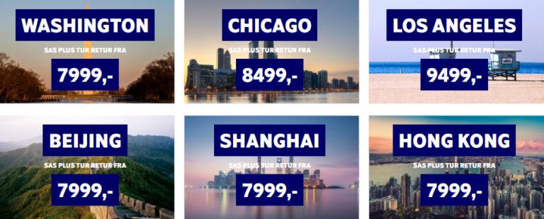 Destinasjoner i USA og Asia
