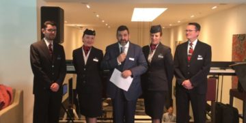 British Airways Alex Cruz ønsker velkommen i den nye loungen på London Gatwick April 5th 2017