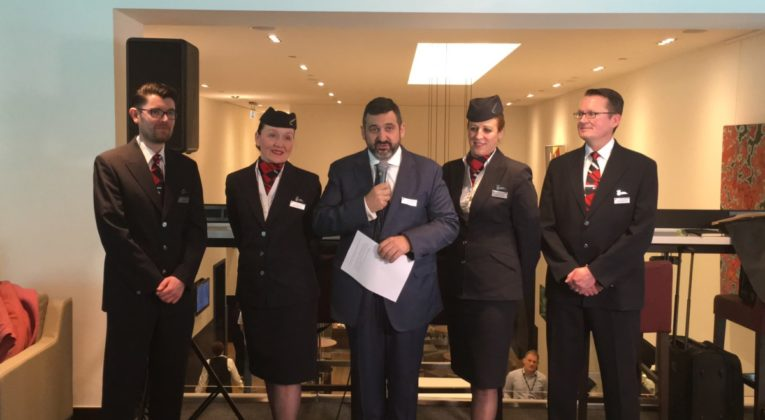 British Airways Alex Cruz ønsker velkommen i den nye loungen på London Gatwick April 5th 2017