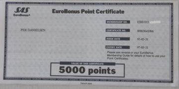 Poengbevis SAS EuroBonus fra 1992