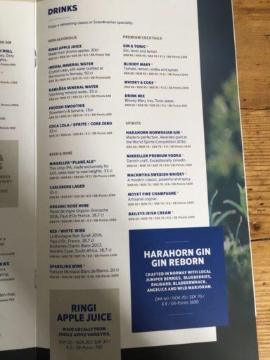 Den nye menyen som deles ut i forbindelsen med New Nordic by SAS-konseptet.