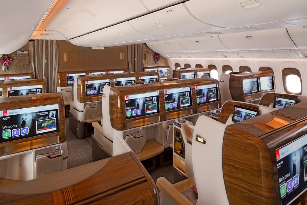 Emirates Business Class Cabin on Boeing 777-300ER