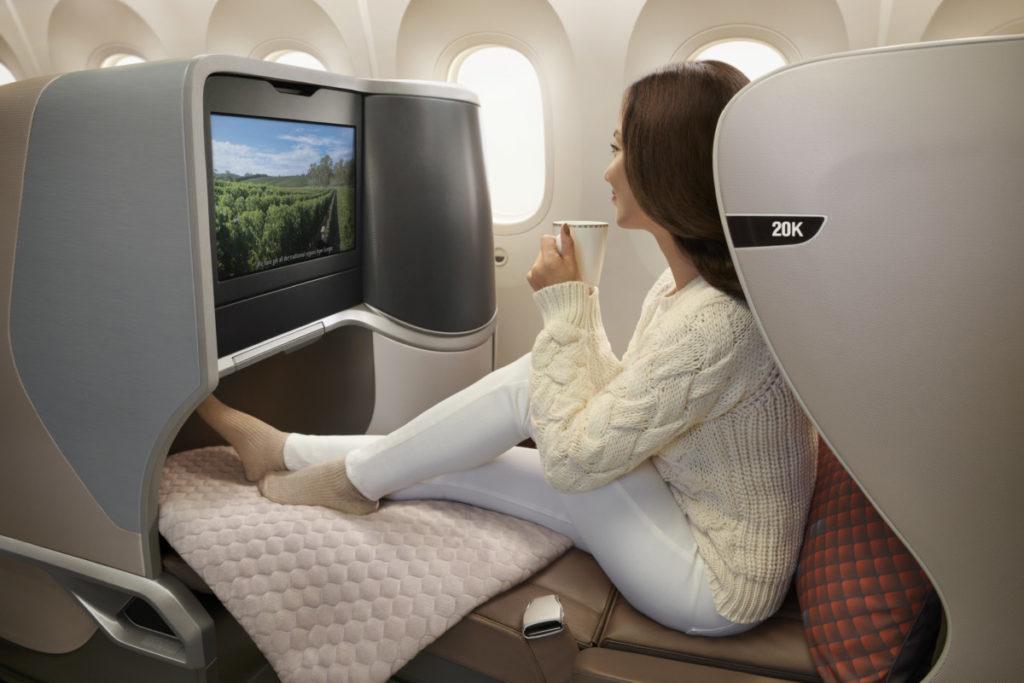 Business class-sete om bord på Singapore Airlines Boeing 787-10 Dreamliner