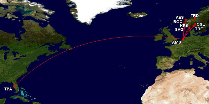 Norge til Tampa via Amsterdam