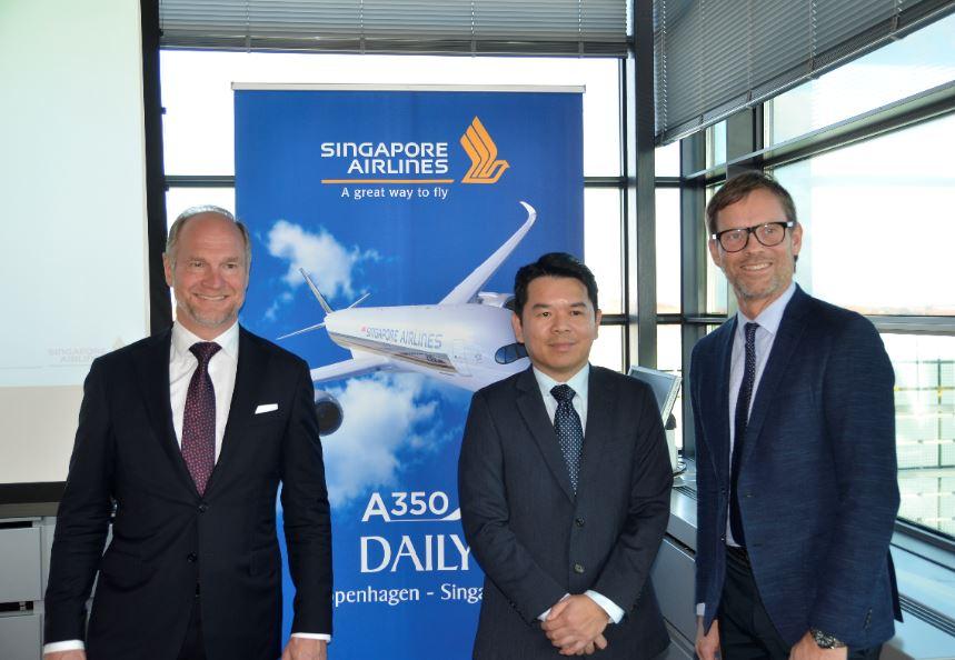 Singapore Airlines med Airbus A350 på Singapore-Købnhavn