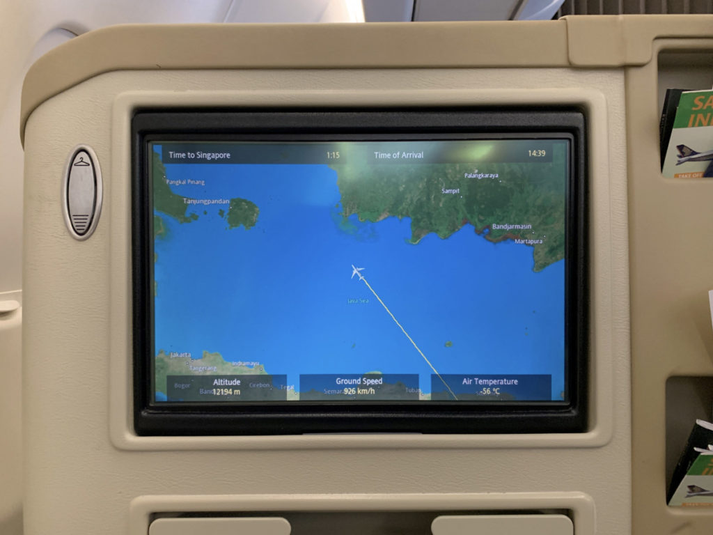 Singapore Airlines Airbus A330 Business Class underholdningssystem