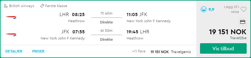 British Airways First Class LHR-JFK