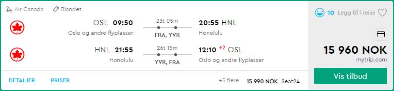 Momondo Oslo Honolulu Business Class Air Canada