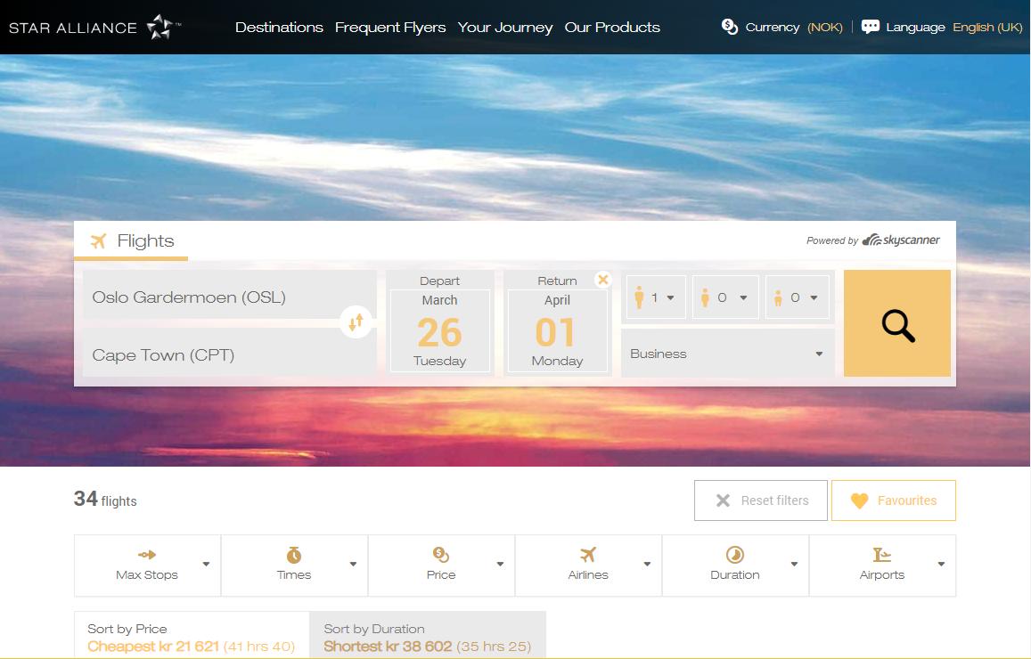 Star Alliance søkemotor fra Skyscanner