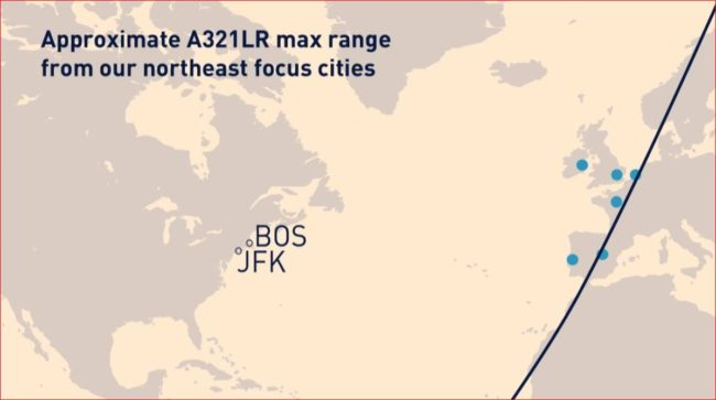 Airbus A321LR rekkevidde