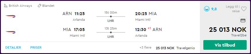 British Airways First Class-tilbud. Skjermdump fra momondo.no