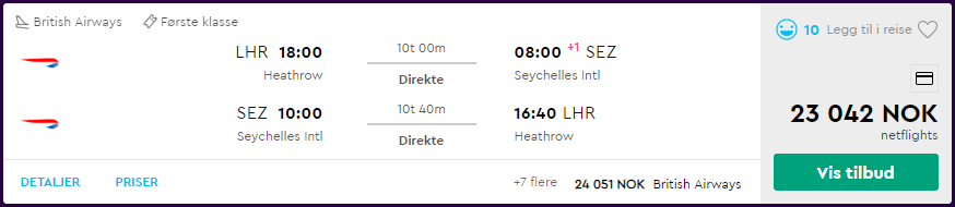 British Airways First Class til Seychellene. Skjermdump fra Momondo.no