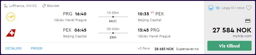 SWISS og Lufthansa First Class til Beijing på momondo.no