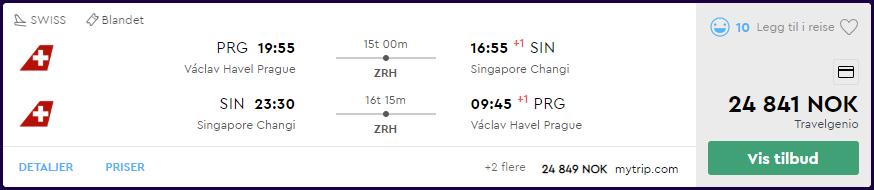 SWISS First Class til Singapore på momondo.no