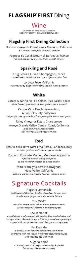 Flagship First Dining vinkart Los Angeles International Airport