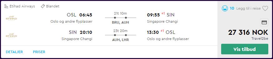 Etihad Oslo - Singapore i First Class skjermdump fra momondo.no