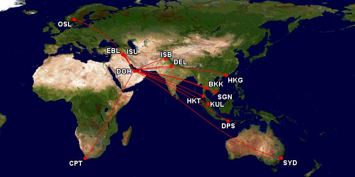 Qatar Airways salg destinasjoner