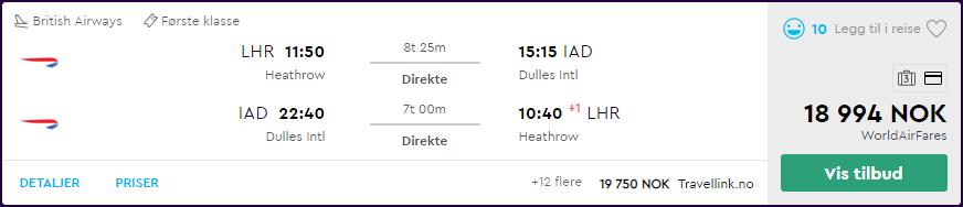 British Airways First Class til Business Class-priser
