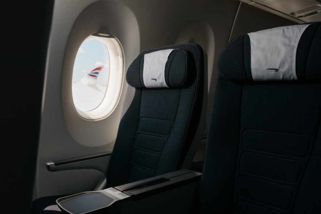 British Airways Airbus A350 World Traveller økonomiklasse