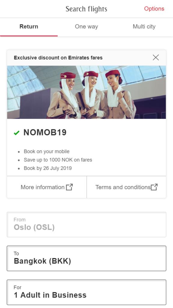 Emirates rabattkode NOMOB19 tilbud mobil