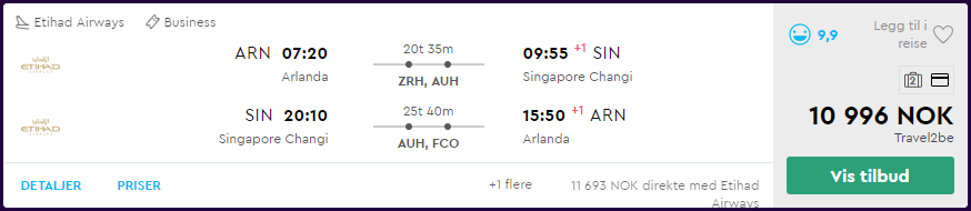 Etihad Business Class til Asia