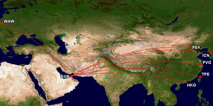 Emirates First Class til Asia kart fra gcmap.com