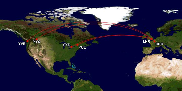 British Airways / Oneworld business class til Canada