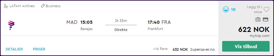 LATAM business class fra Madrid til Frankfurt for 622 kroner på momondo.no