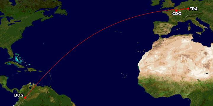 Reisserute Lufthansa First fra Paris til Bogota, Colombia