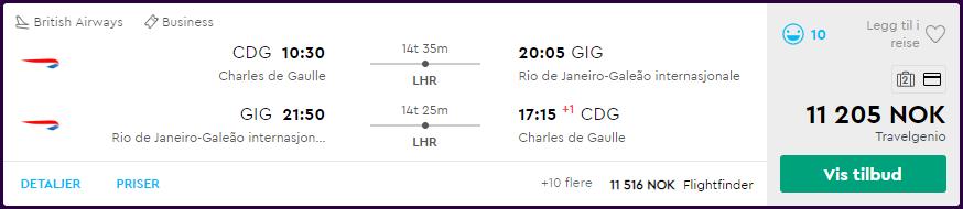 British Airways business class til Rio de Janeiro