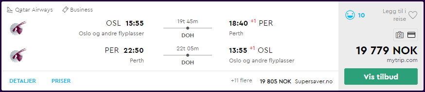 Oslo til Perth, Australia i Qatar Airways Business Class