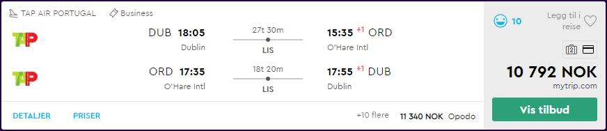 TAP Air Portugal business class-tilbud til Nord-Amerika