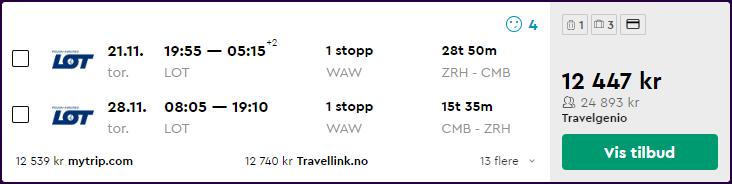 LOT Polish Airlines business class til Colombo, Sri Lanka fra 12 447,-