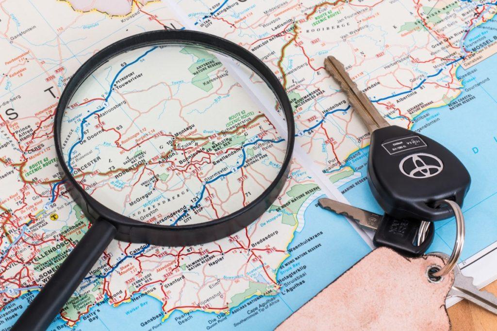 Reiserute, kart og bilnøkler