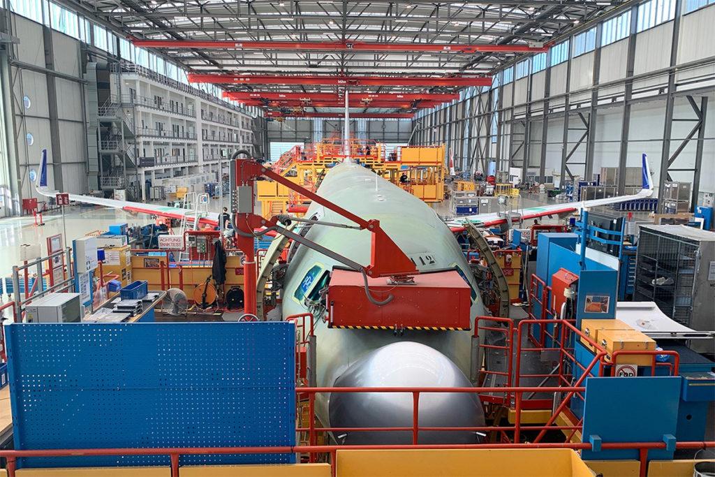 Airbus A320neo under montering på Airbus-fabrikken i Hamburg