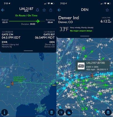 Følg United Airlines' Star Wars-fly på FlightAware.com