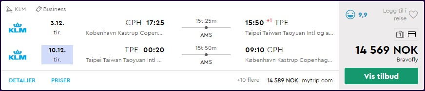 KLM business class til Taipei, Taiwan. Skjermdump fra momondo.no