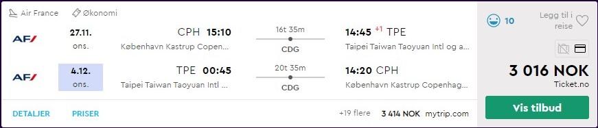 Air France økonomiklasse til Taipei, Taiwan. Skjermdump fra momondo.no.