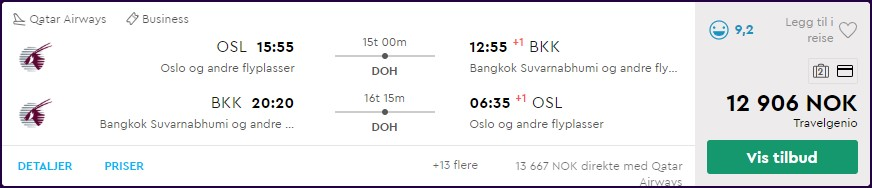 Qatar Airways business class til Bangkok og Singapore fra 12906,-