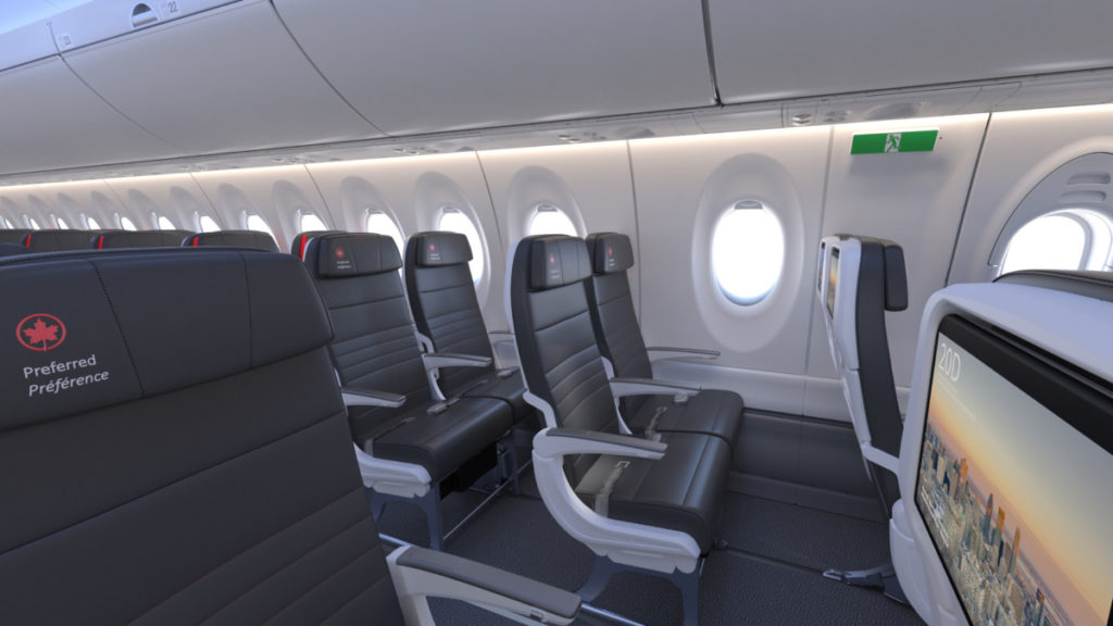 Air Canada Airbus A220 økonomiklasse