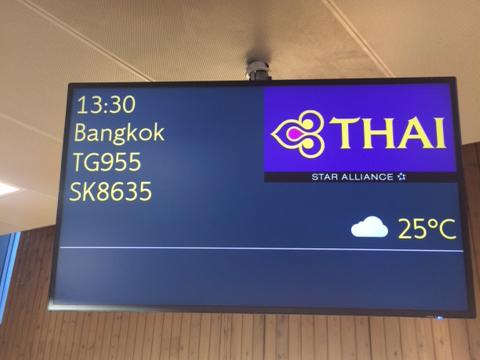 Thai Airways TG955 fra Oslo til Bangkok