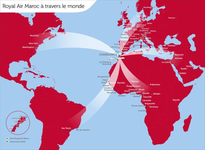 Royal Air Maroc rutekart