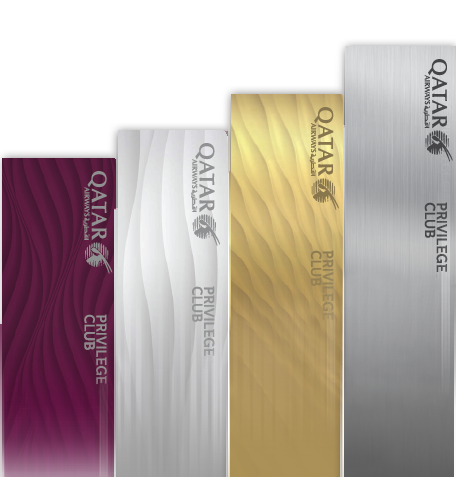 Qatar Airways Privilege Club medlemsnivåer: Burgundy, Silver, Gold og Platinum