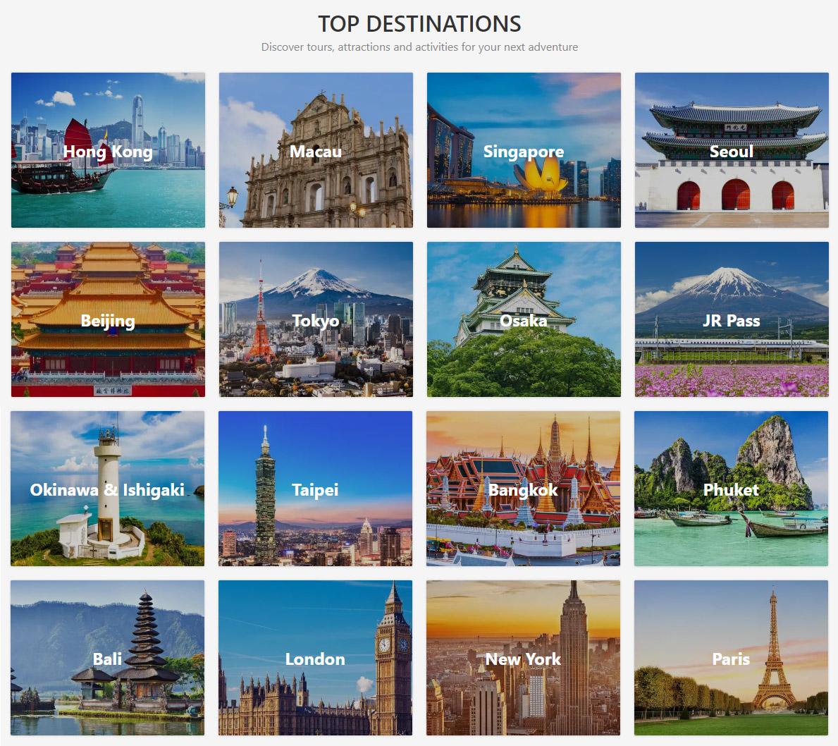 Klooks mest populære destinasjoner