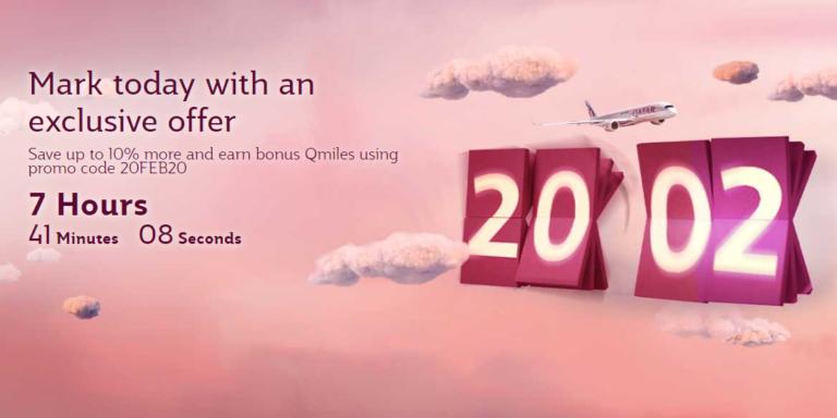 Qatar Airways tilbud med 10% rabatt og ekstra Qmiles