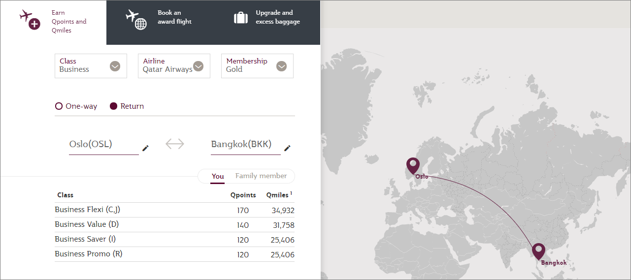 Qatar Airways Qcalculator